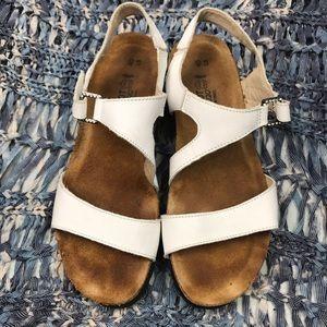 Naot White Diamond Studded Buckle Sandals